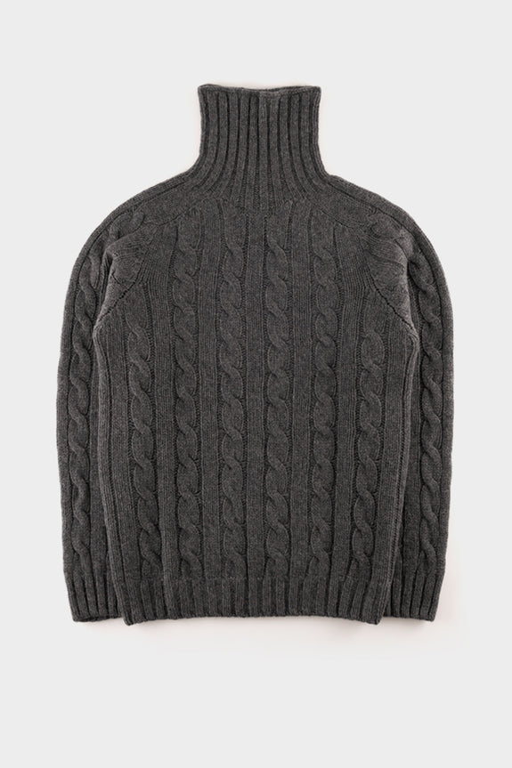 Seven.stones Mens Chunky Cable Knit Sweat Grey