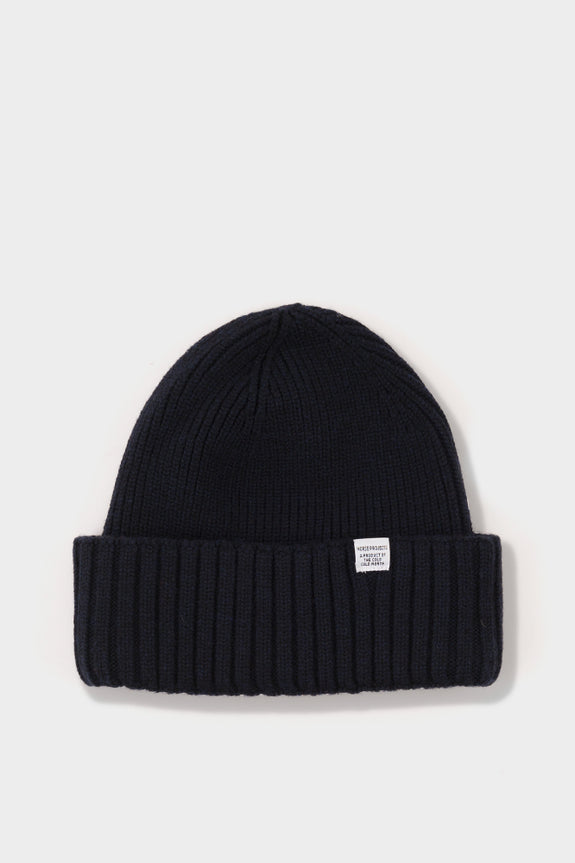 Norse Projects Chunky Rib Beanie - Dark Navy