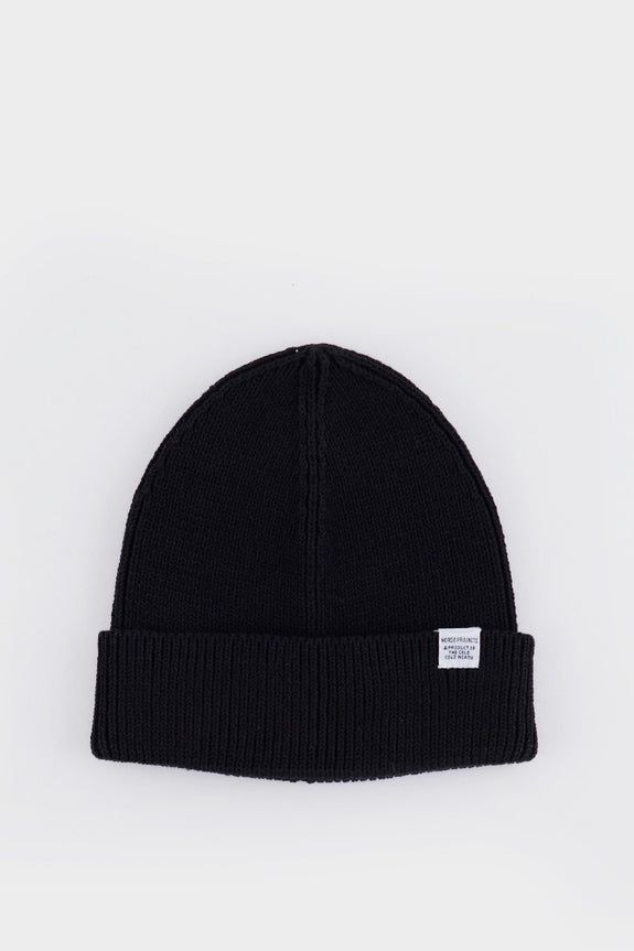 Cotton Watch Beanie Black -