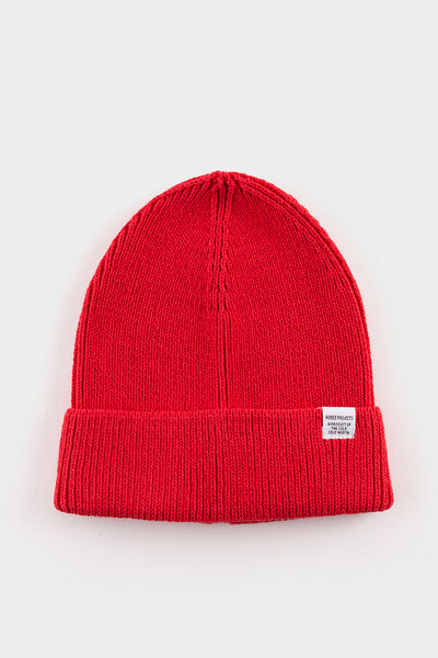Norse Projects Cotton watch Beanie Askja Red