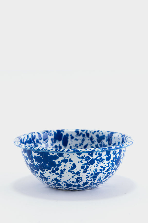 Crow Canyon Marbled Enamel Cereal Bowl - Blue / White