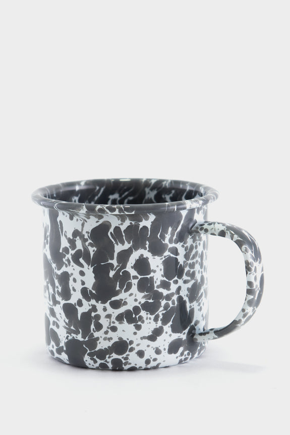 Crow Canyon Marbled Enamel Mug - Grey / White