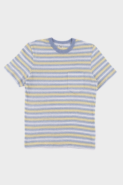 1940's Striped Pocket T Shirt Blue -  - 1