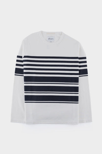 Albam Striped Mid Weight Sweat Dark Navy