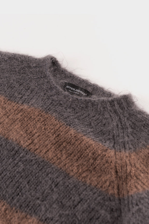 Seven.stones Mens Striped Mohair Sweater Graphite Taupe