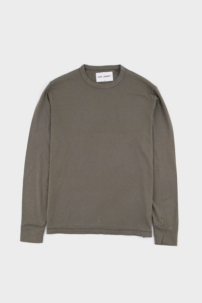 Cuffed Long Sleeve T Shirt Olivine -  - 1