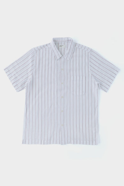 Universal Works Road Shirt White/Raisin