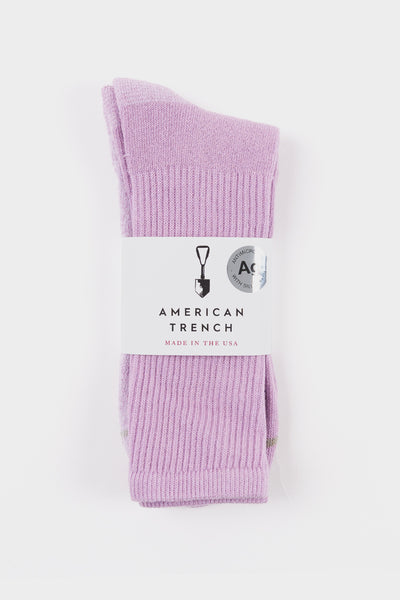 American Trench Silver Crew Socks Lilac