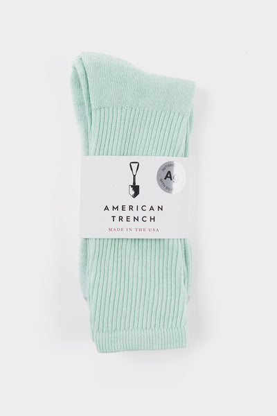 American Trench Silver Crew Socks Mint