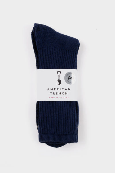 American Trench Silver Crew Socks Navy