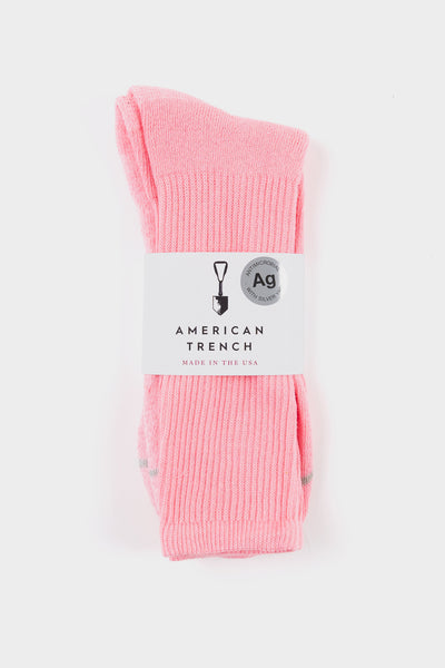 American Trench Silver Crew Socks Pink
