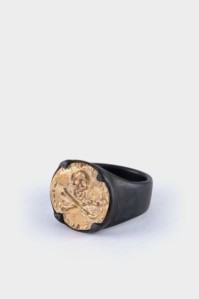 Ed Wilson Skull Signet Ring- Gold and Black