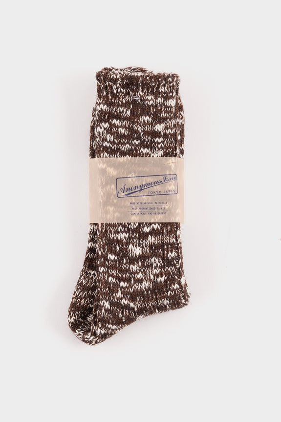 Anonymous Ism Slub Crew Socks Brown