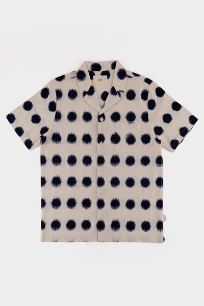 Folk Soft Collar Shirt Ecru Indigo Dot