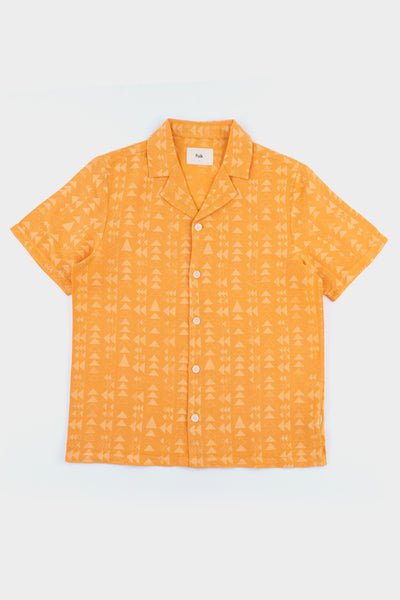 Folk SS Soft Collar Shirt Tile Print Marigold