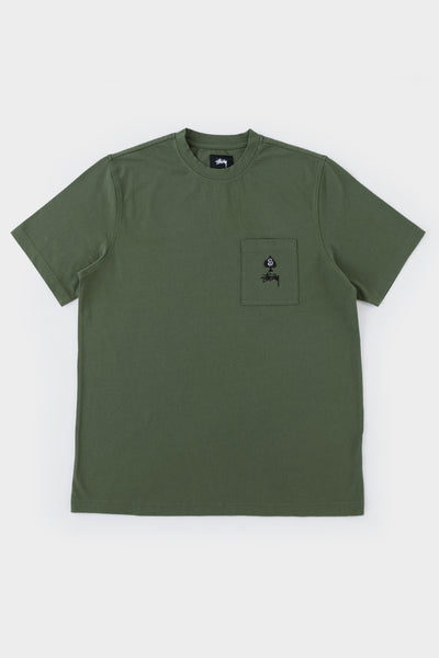 Stussy Spade Crew Olive T Shirt