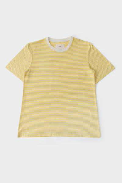Folk Womens 1x1 Stripe Tee Light Gold Ecru
