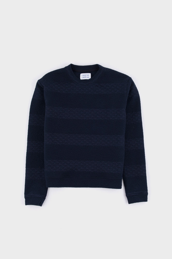 Phoenix Textured Stripe Sweat Navy -  - 1