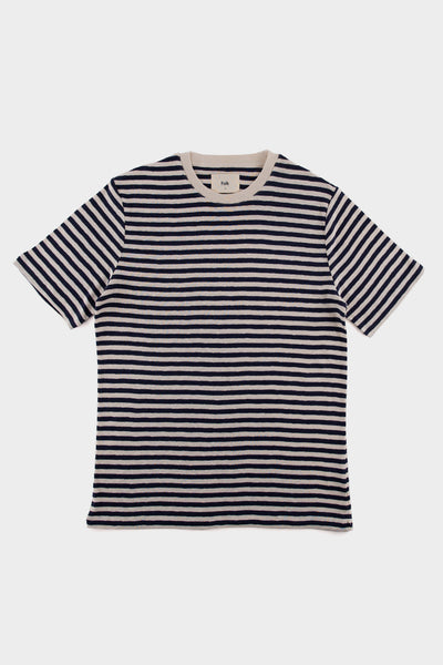 Folk Classic Stripe T Shirt Navy Ecru