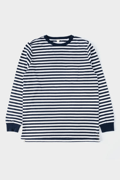 Albam Classic Long Sleeve T Shirt - Navy / White