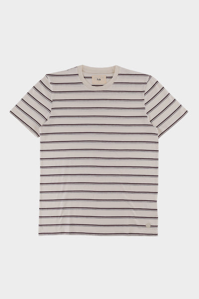 Folk Striped T Shirt Ecru Plum Navy