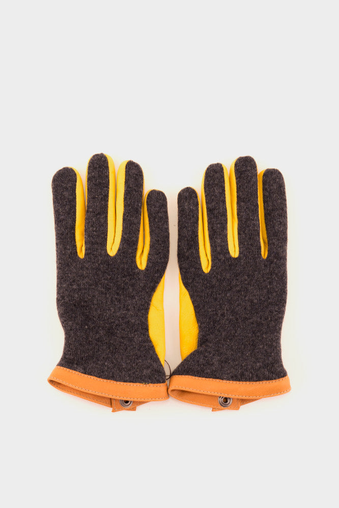 Deerskin Wool Tricot Gloves Grey Yellow -  - 1