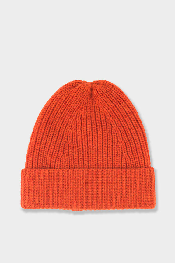 The Workers Club Merino Tuck Rib Beanie Orange