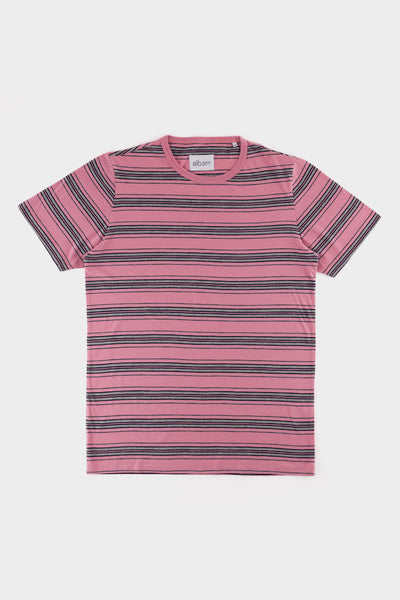 Albam Vintage Stripe T Shirt Dusty Cedar Navy