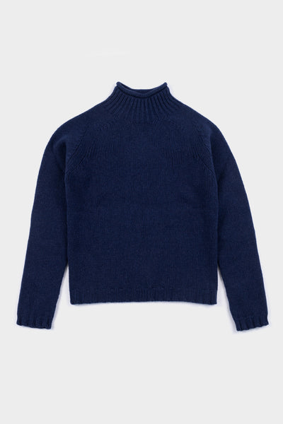 Womens Seven.Stones High Neck Fishermans Knit - Navy