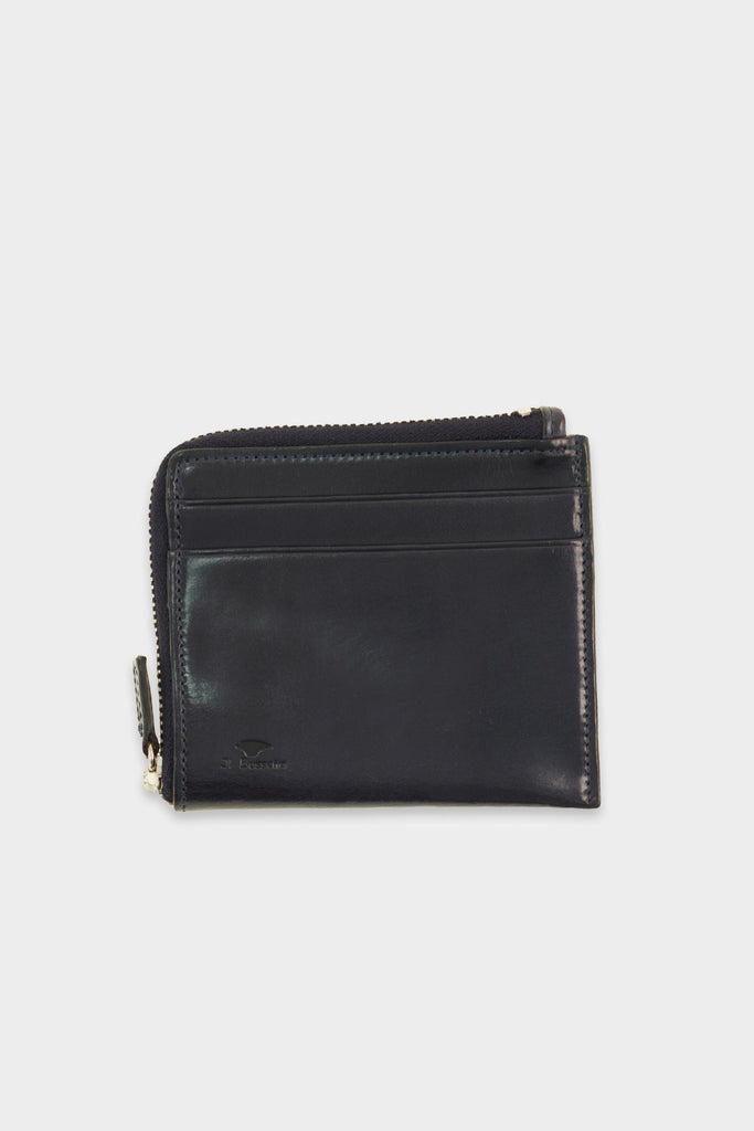 Zip Wallet Leather Navy -