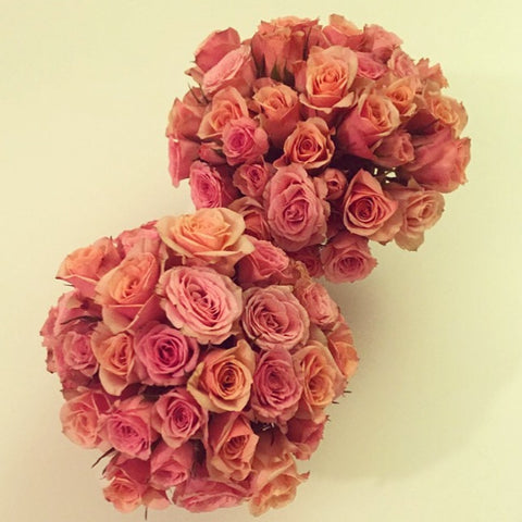 A make it yourself centerpiece of peach roses from itsbyu