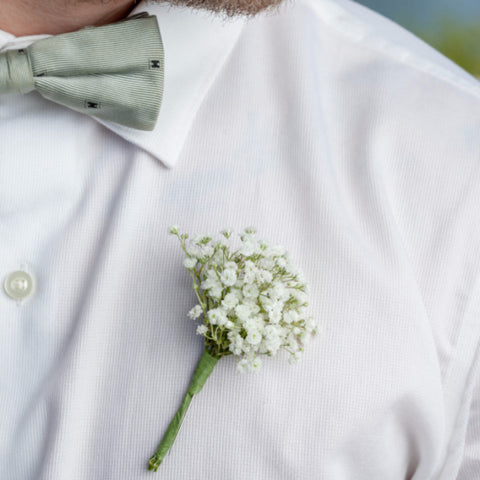 #HappinessIs Baby's Breath Boutonniere