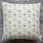 Retro Flower Linen & Dark Lime Cushion