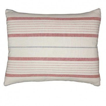 Striped Denim Blue and Red Cushion