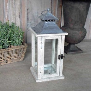 Wooden Washed Lantern