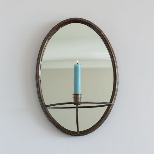 Oval Mirror Candle Holder Antique Black