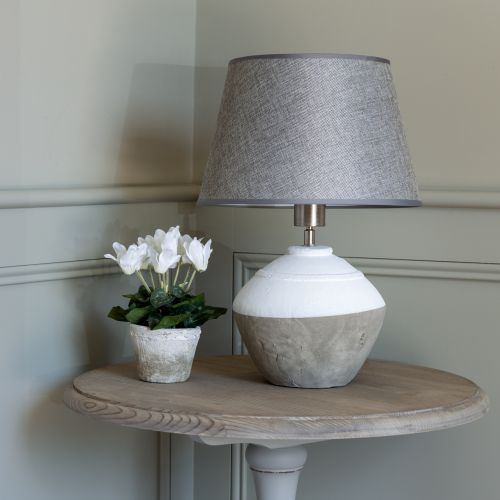 Stoneware Lamp Cali With Grey Shade
