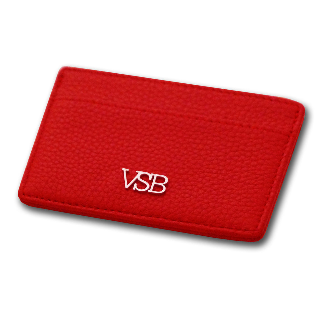 RED LEATHER CARD HOLDER - VSB London