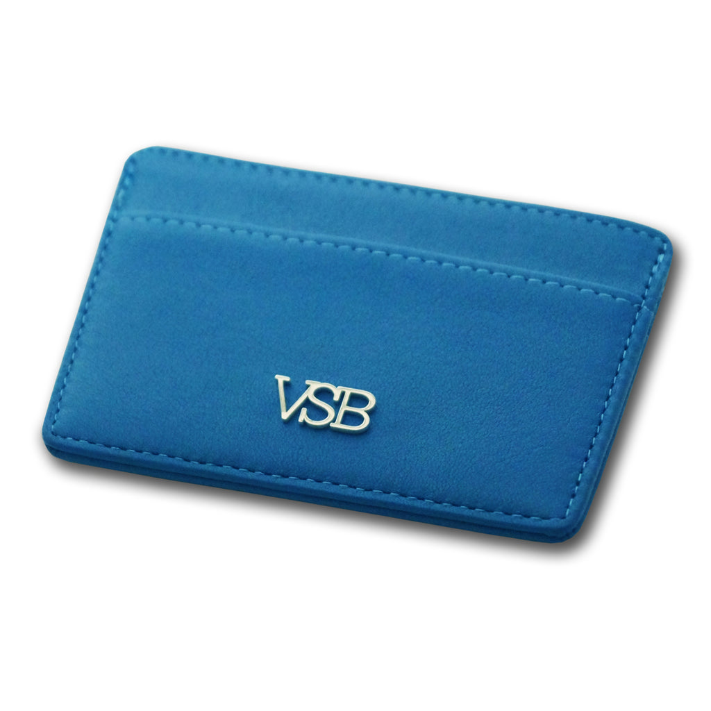 BLUE LEATHER CARD HOLDER - VSB London