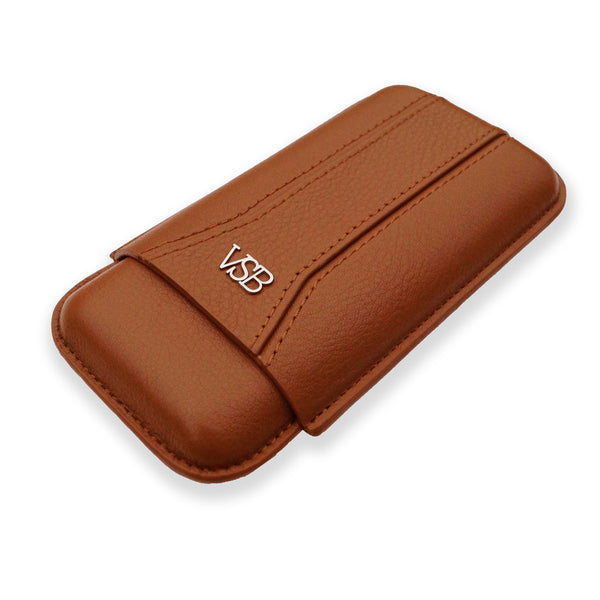 Brown luxury VSB London stylish leather cigar case pouch holder