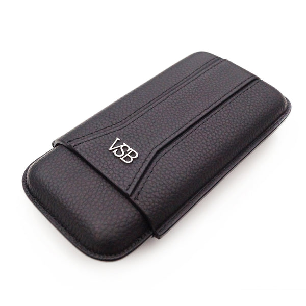 Black luxury VSB London stylish leather cigar case pouch holder