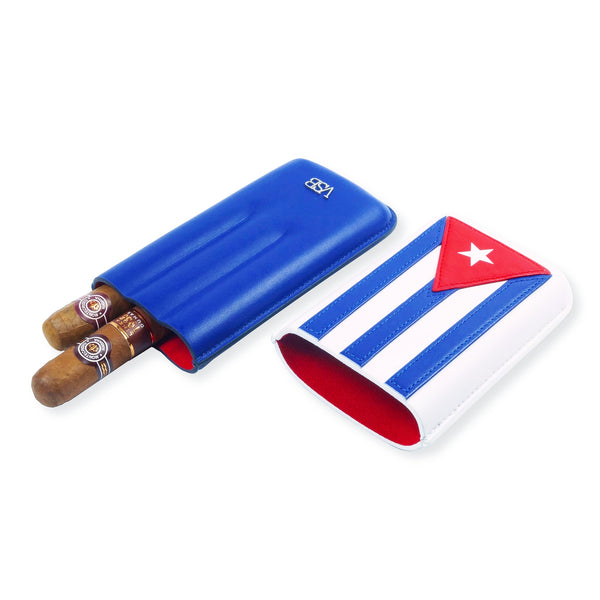 Limited Edition Cuban Flag Leather Cigar Pouch - VSB London