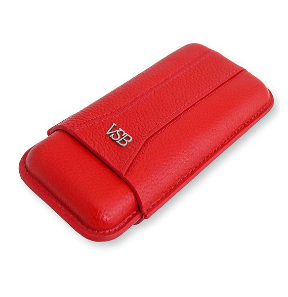 RED LEATHER CIGAR CASE - VSB London