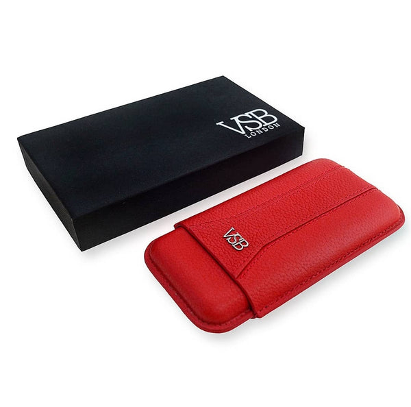 RED LEATHER CIGAR POUCH