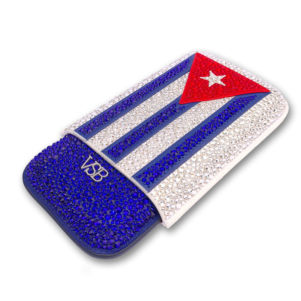 Swarovski Crystal Cuban Flag Cigar Case