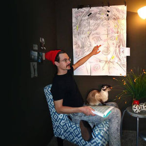 Palm Treat artist Jeff Nolan Marie Nolan art talking about a trippy drawing in the studio with his Siamese cat Dingus. Sketch of awesome pop art vintage inspired pin up girl.