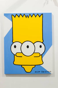 Eat my shorts! Crazy Simpsons Tapped Out wall art for sale by Palm Treat, who is the real Jeff Nolan & Marie Nolan art outsider art fold art.