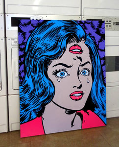 Retro vintage classic comics inspired pop art painting Marie Nolan Art for sale in a laudromat. Artwork by the real Jeff Nolan & Marie Nolan of Palm Treat.
