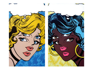 Incredible black girl comic book character with extra eyes. Seeing double with Marie Nolan & the real Jeff Nolan of psychedelic art studio Palm Treat of Philadelphia Detroit Los Angeles Marie Nolan pop art folk aritst outside art vaporwave