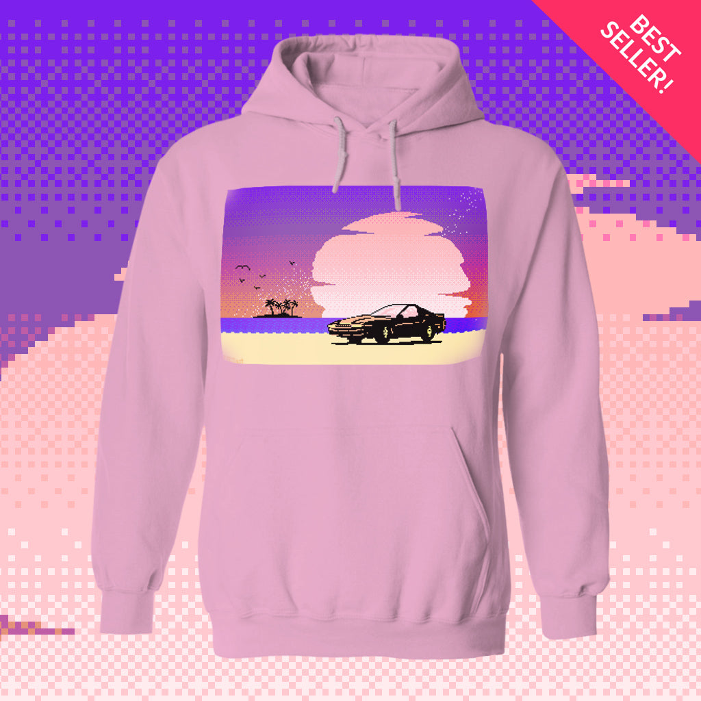 8-Bit Stories Pink Sunset Hoodie by palm-treat.myshopify.com for sale online now - the latest Vaporwave & Soft Grunge Clothing